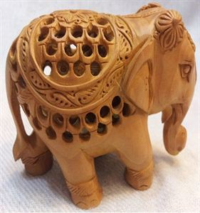 Wooden Elephant 3 Inches With Net Like Pores Deep Handicraft