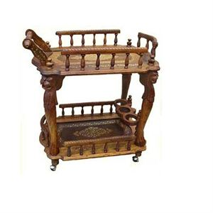 Wooden Service Trolly Deep Handicraft Nepal Fine Wooden Crafts Of